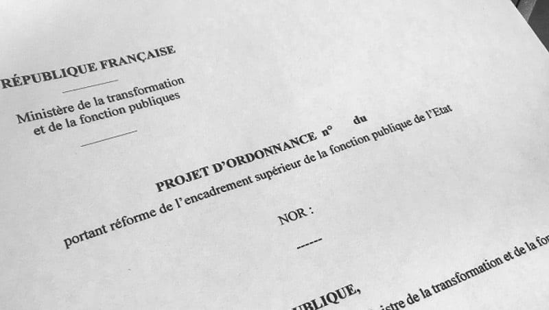 projet d'ordonnance portant réforme de l'encadrement supérieur de la fonction publique de l'État (FPE)